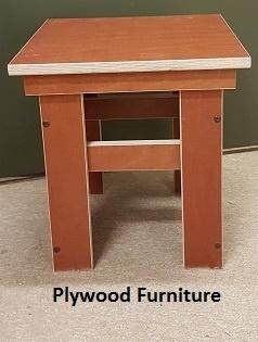 Plywood kruk gemaakt van  Light Brown betonplex ***Model 3