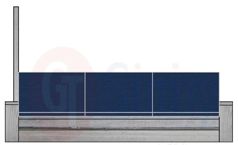 Steigerhouten bank met spat-bescherming links of rechts op de armleuning (Flame Resistant mogelijk)