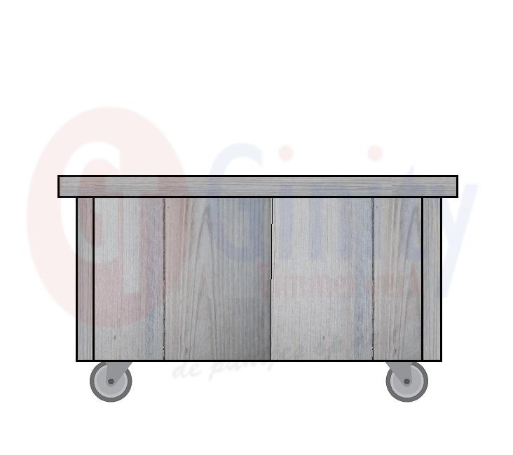 Steigerhouten tafel met zwenkwielen waarvan 2 stuks geremd (Flame Resistant mogelijk)