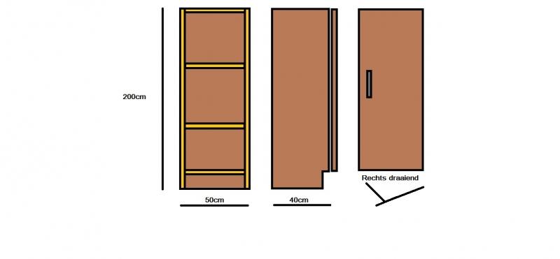Plywood staande kast smal rechts draaiend gemaakt van Light Brown betonplex ***Model 18
