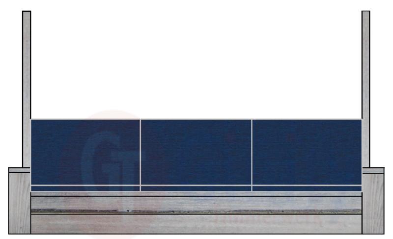 Steigerhouten bank met spat-bescherming links en rechts op de armleuningen (Flame Resistant mogelijk)