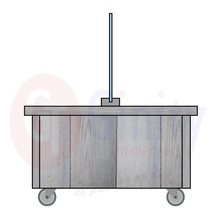 Steigerhouten tafel met spat-scherm en zwenkwielen waarvan 2 geremd (Flame Resistant mogelijk)