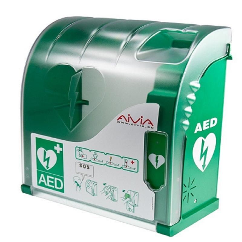 AED kast groen met alarm verlichting en verwarming