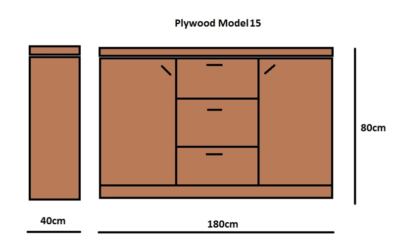 Plywood Dressoir gemaakt van 18mm dik Light Brown betonplex ***Model 15