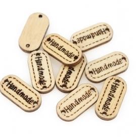 Houten label 'handmade' 2cm