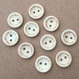 Houten knoopje 'handmade' 15mm