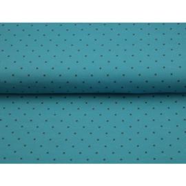 Tricot blauw met zwarte stip