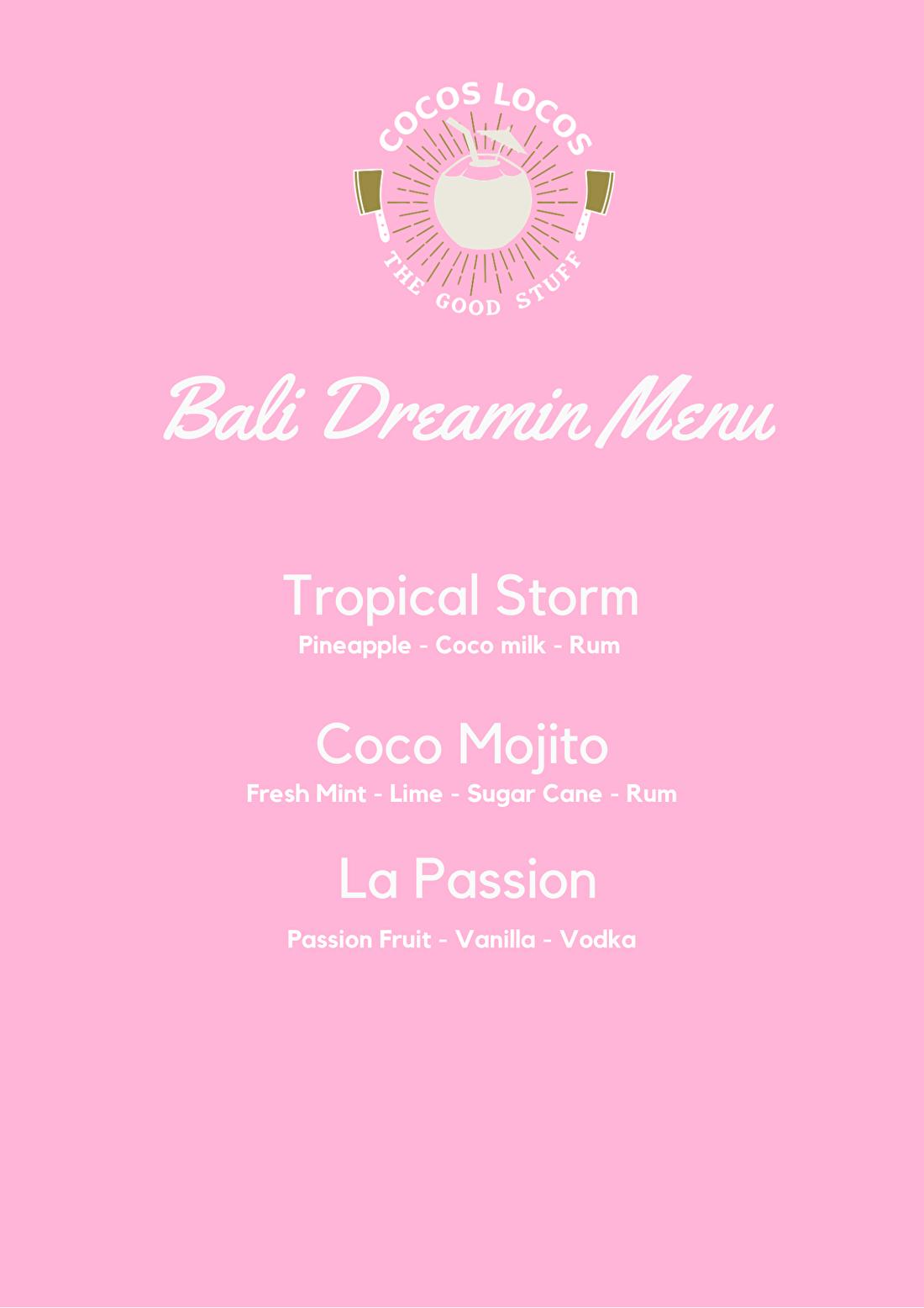 Voorbeeld cocktail menu mobiele bar