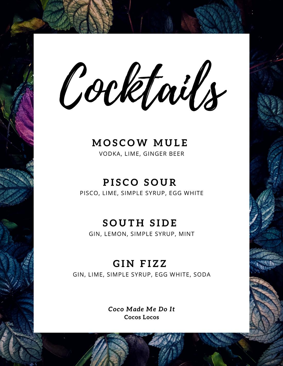 Cocktail menu foodtruck