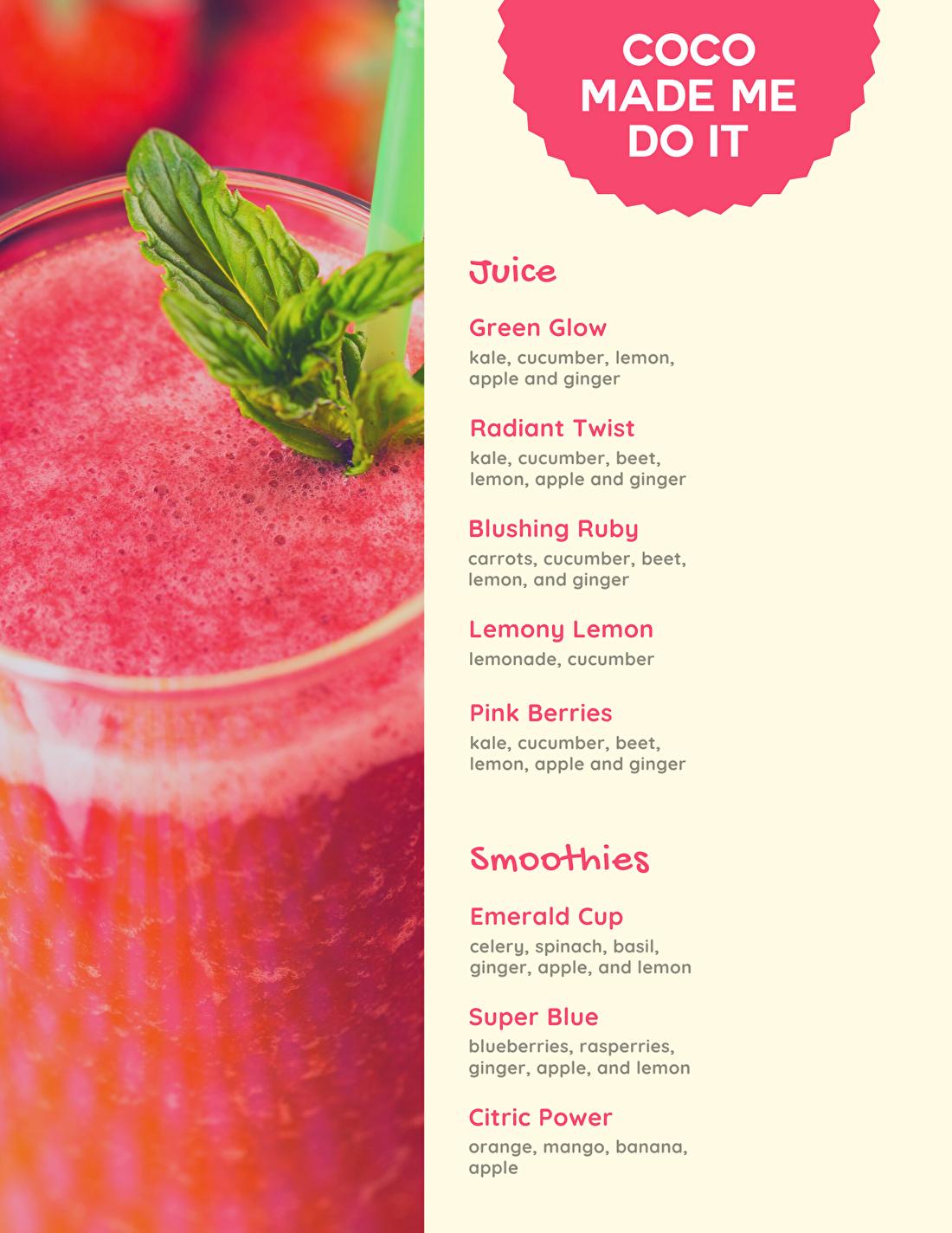 Voorbeeld mobiele smoothie bar menu