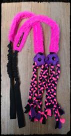 Bal met vlechtjes, pluche en bungee roze