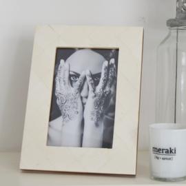 Fotolijst - creme/wit ingelegd  - 15 cm x 10 cm