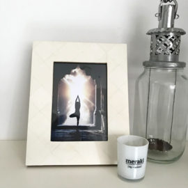 Fotolijst - creme /wit  ingelegd - 13 cm x 18 cm
