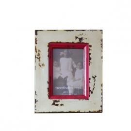 Kleurrijke wit/rood sloophouten fotolijst 19 cm x 24 cm