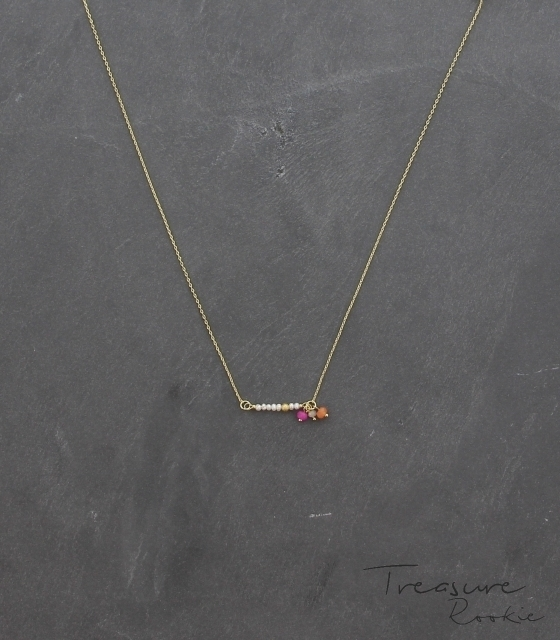 Treasure rookie ketting - Be Pearly - roze