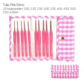 Tulip Etimo haaknaaldenset Candy Softgrip Gingham Pink