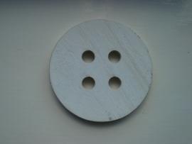 Robuste houten knoop wit 8,5 cm