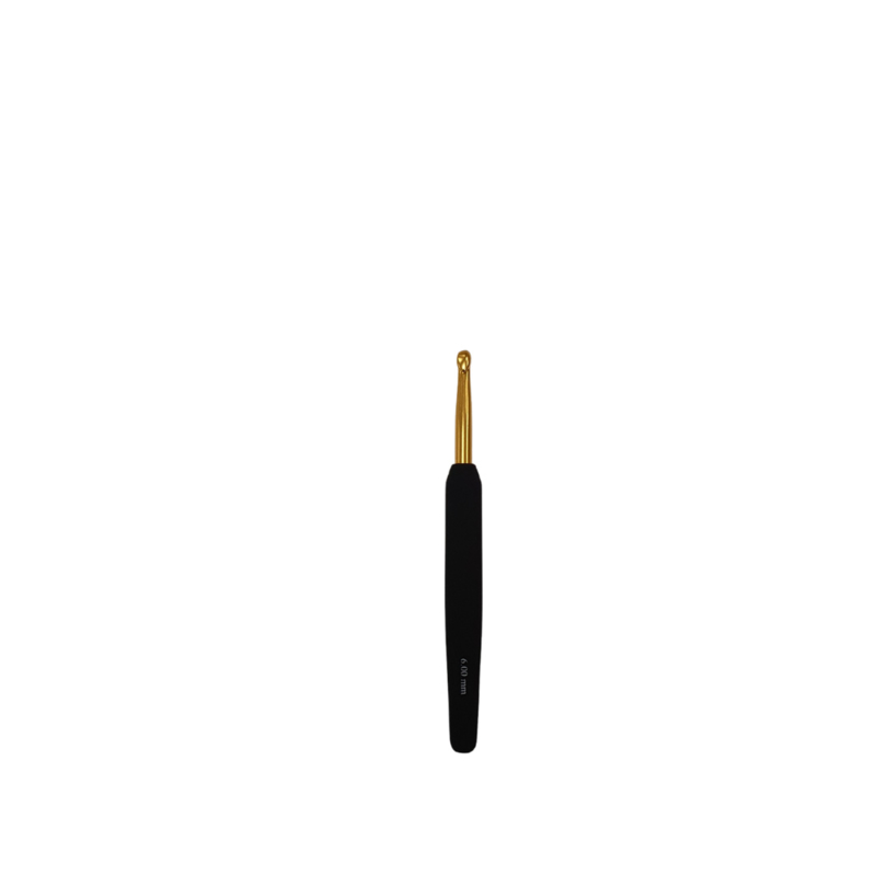 Haaknaald goud KnitPro softgrip zwart 6.0 mm