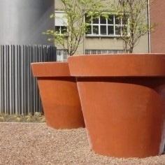 Cortenstaal plantenbak Ø 800x800 met bovenrand