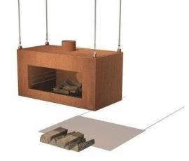 Tuinhaard Enok hangend 1000x500x500 mm Cortenstaal