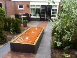 Watertafel cortenstaal 3000x1000x400 mm 3 fonteinen en LED