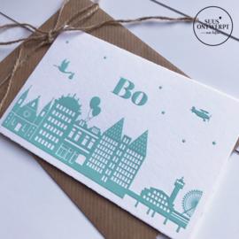 Letterpress geboortekaartje Bo
