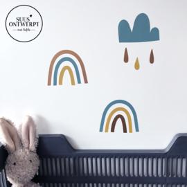 Muurstickers - Regenboogjes en Wolkjes