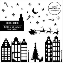 Kerst Raamsticker - HERBRUIKBAAR
