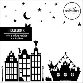 Sinterklaas Raamsticker met boot - HERBRUIKBAAR