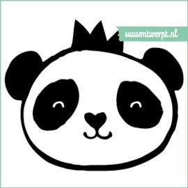 Muursticker - Panda met kroon