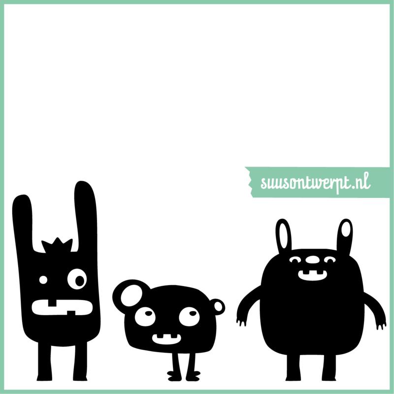 Muursticker - Monsters - 60x30 cm