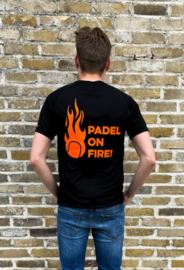 Tshirt Padel on fire zwart