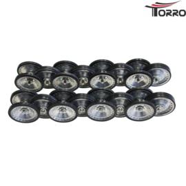 Complete set metalen loopwielen met rubbers
