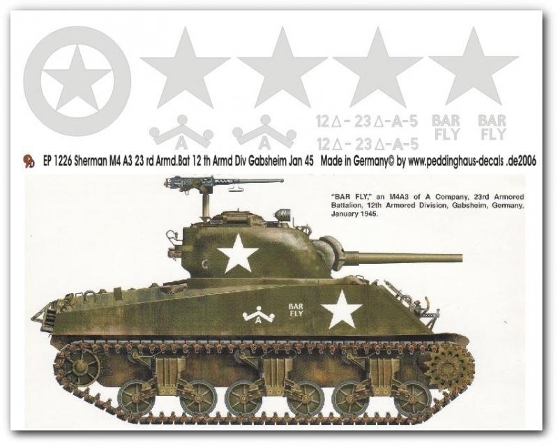 EP 1226 decal van de Sherman M4A3  RD ARMD.Bat 12th ARMD.DIV.  Gabsheim jan `45.