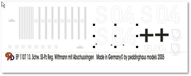 EP 1107 Decal Tiger van  Michael Wittmann S04 met afschotringen.