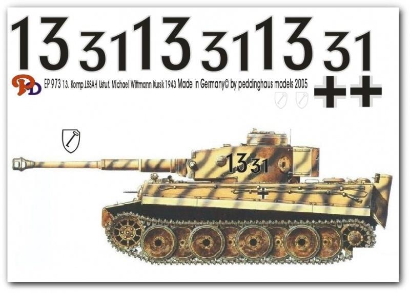 EP 0973 Decal voor Tiger 1 Wittmann slag van Kursk