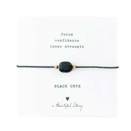 A BEAUTIFUL STORY Gemstone Card Black onyx bracelet