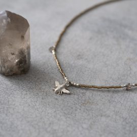 A BEAUTIFUL STORY Wildflower Smokey quartz silver Necklace