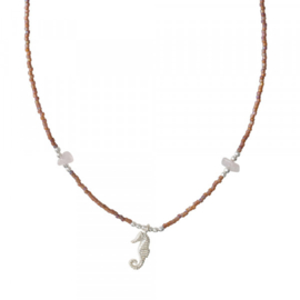A BEAUTIFUL STORY Wildflower rose quartz silver Necklace
