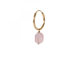 A BEAUTIFUL STORY Rose quartz silver sterling gold plated hoop earring