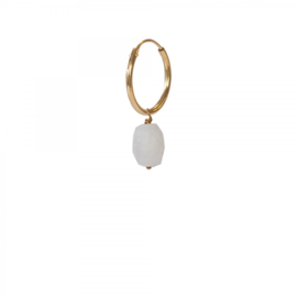 A BEAUTIFUL STORY  Moonstone sterling silver gold plated hoop earring