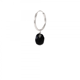 A BEAUTIFUL STORY Black onyx sterling silver hoop earring