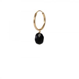 A BEAUTIFUL STORY Black onyx sterling silver gold plated hoop earring