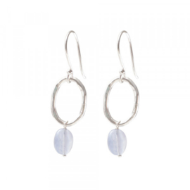 A BEAUTIFUL STORY Graceful Blue lace Agate Silver Earrings