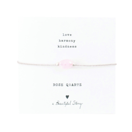 A BEAUTIFUL STORY Gemstone Card Rose quartz silver bracelet