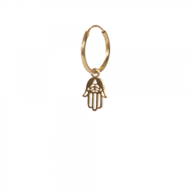 A BEAUTIFUL STORY Hamsa sterling silver-gold plated hoop earring