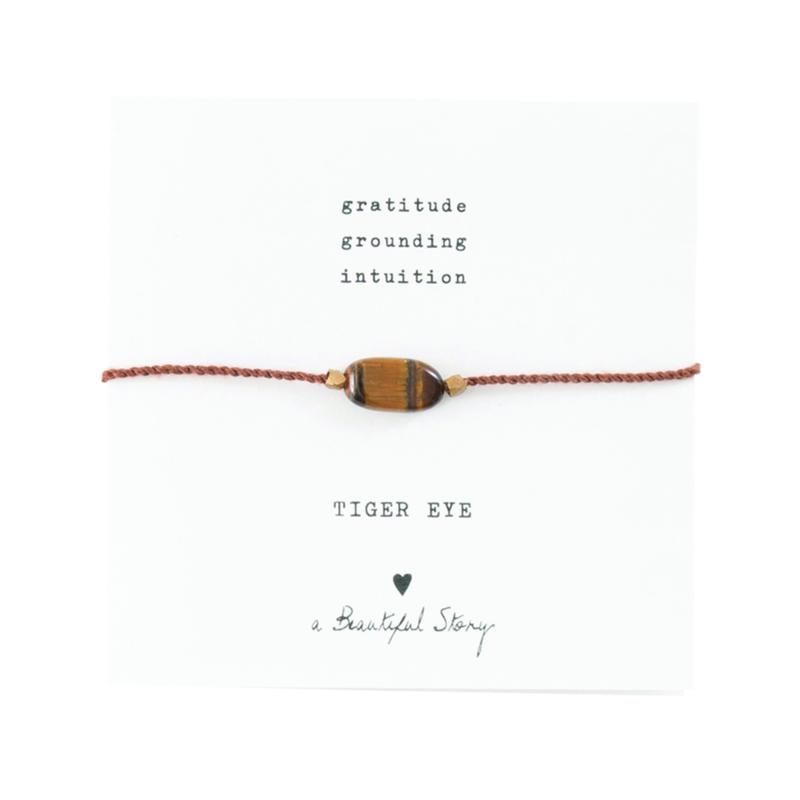 A BEAUTIFUL STORY Gemstone card Tiger eye gold bracelet