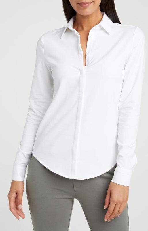 YAYA Zachte jersey katoenen blouse met blinde knoopsluiting