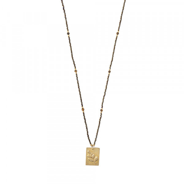 A BEAUTIFUL STORY Delight tiger Eye Branch Gold necklace
