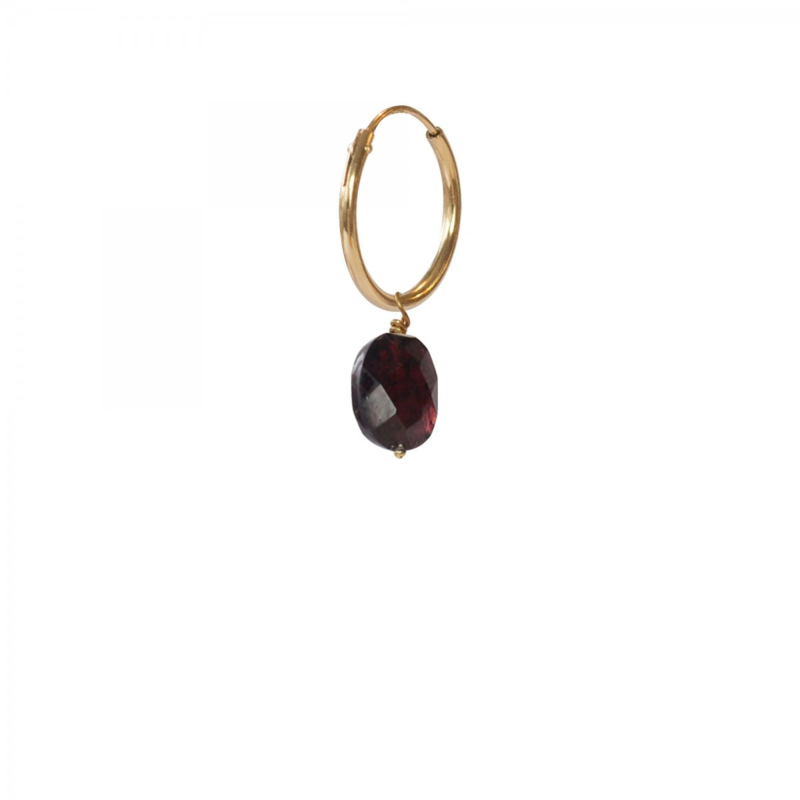 A BEAUTIFUL STORY  Garnet sterling silver gold plated hoop earring